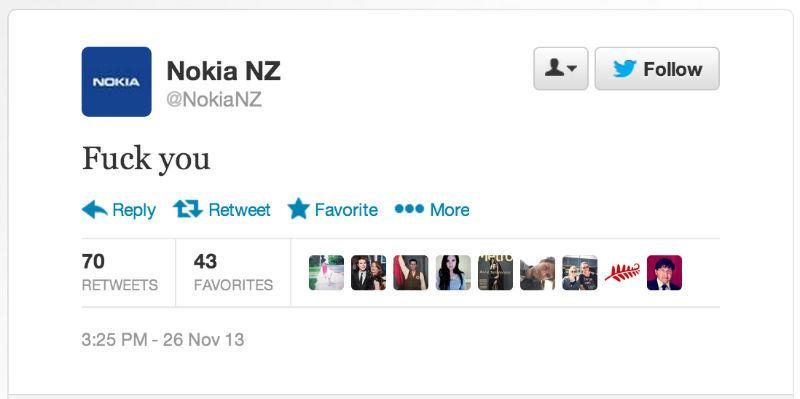 Nokia tweets fuck you